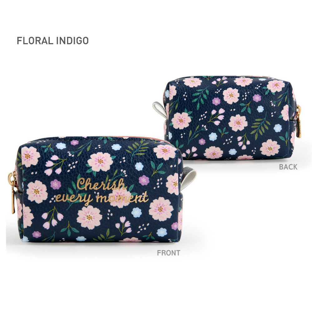 Floral Indigo - Monopoly Cherish every moment small PU zipper pouch case