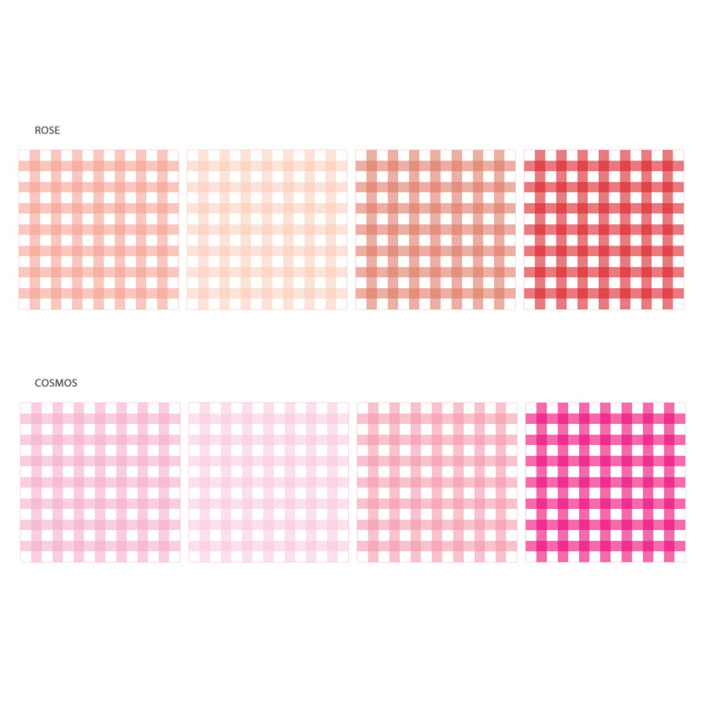 Color - Wanna This Picnic 6mm check 4 designs memo notepad