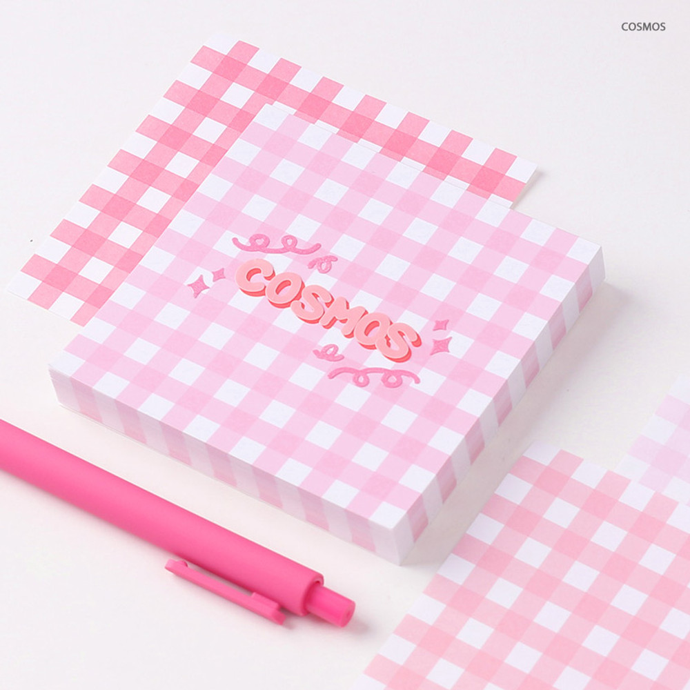 Cosmos - Wanna This Picnic 6mm check 4 designs memo notepad