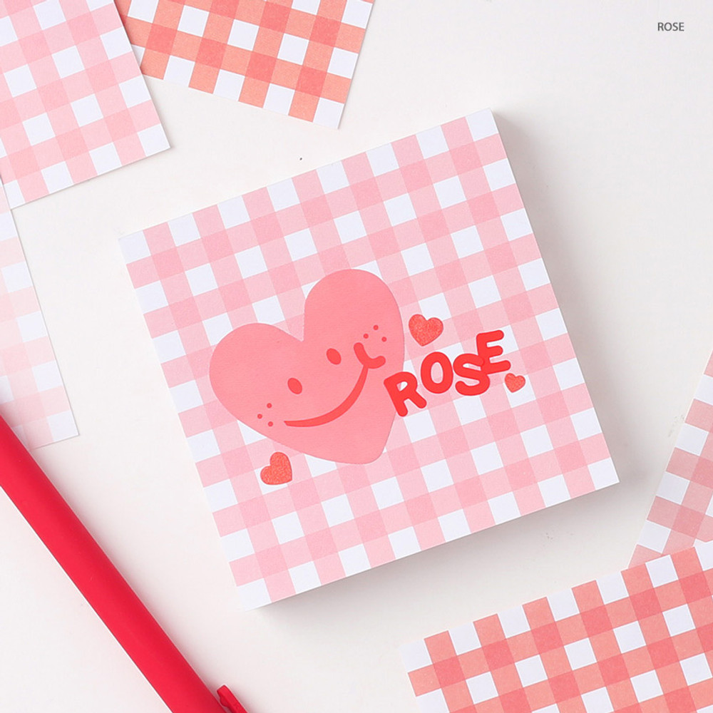 Rose - Wanna This Picnic 6mm check 4 designs memo notepad