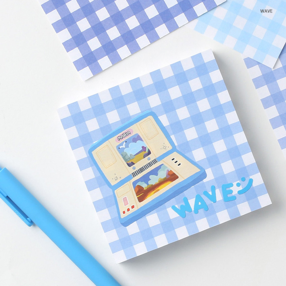 Wave - Wanna This Picnic 6mm check 4 designs memo notepad