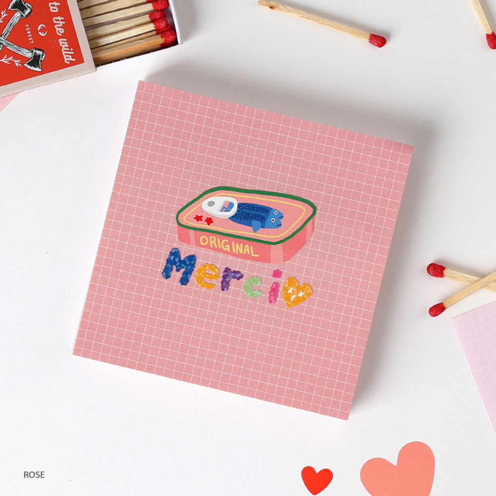 Rose - Wanna This Palette 3mm grid 4 designs memo notepad