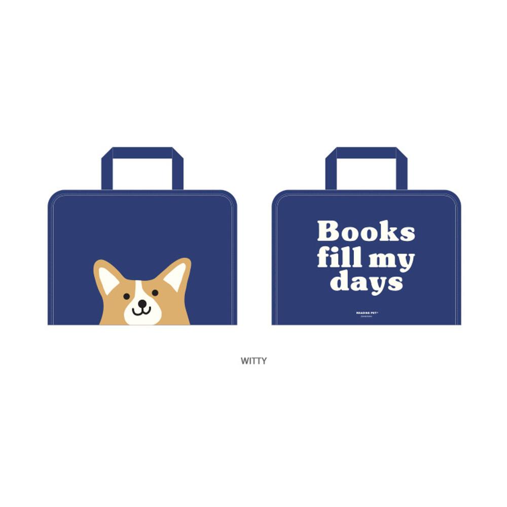 Witty - Bookfriends Reading pet zip around file bag