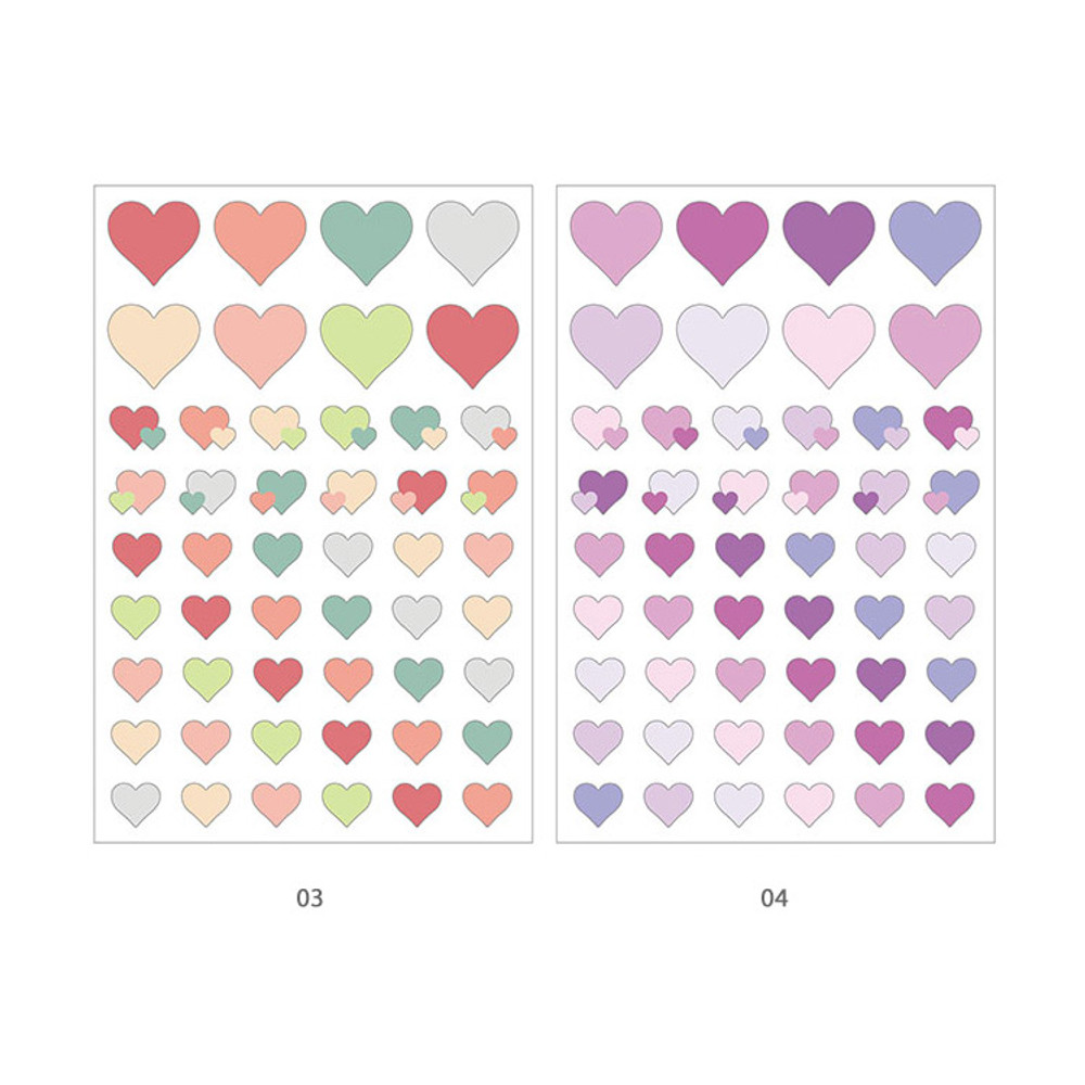 03, 04 - PLEPLE Love in Life paper deco sticker 2 sheets