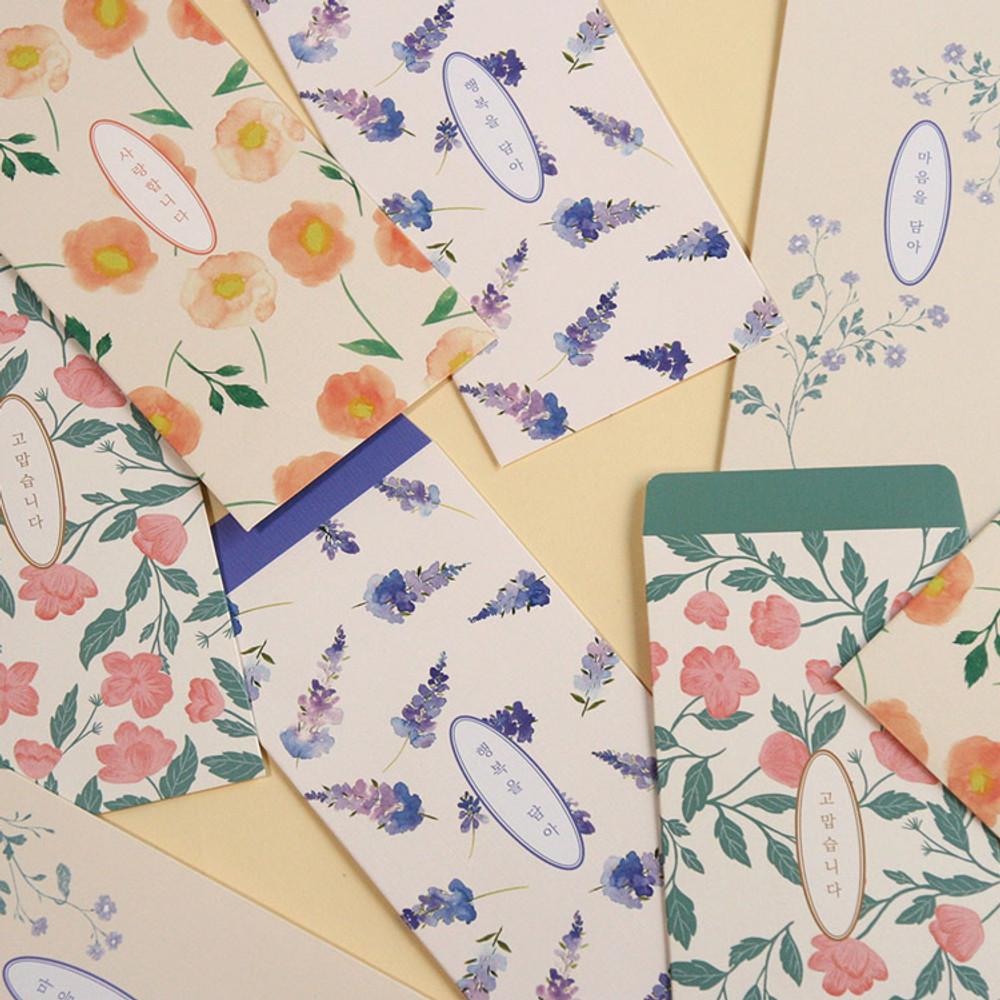 DESIGN GOMGOM Flower pattern envelope set