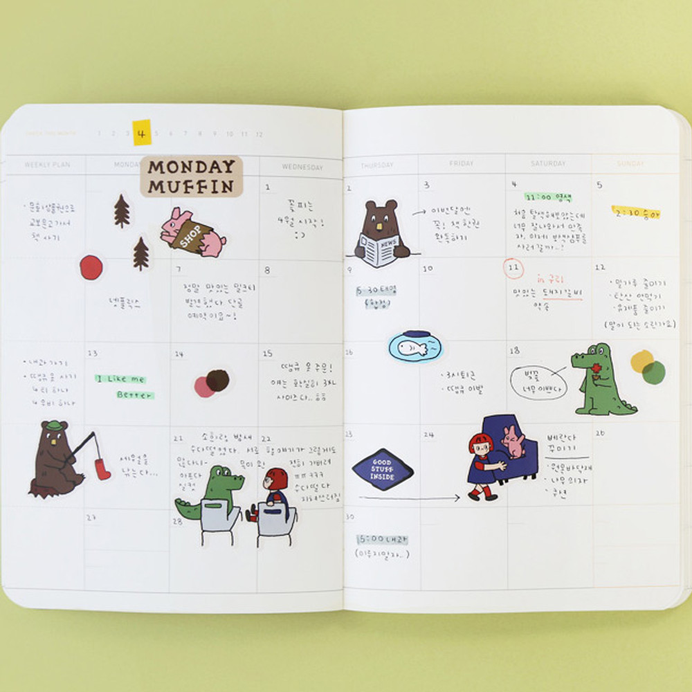 Usage example - ROMANE Monday muffin removable deco sticker pack