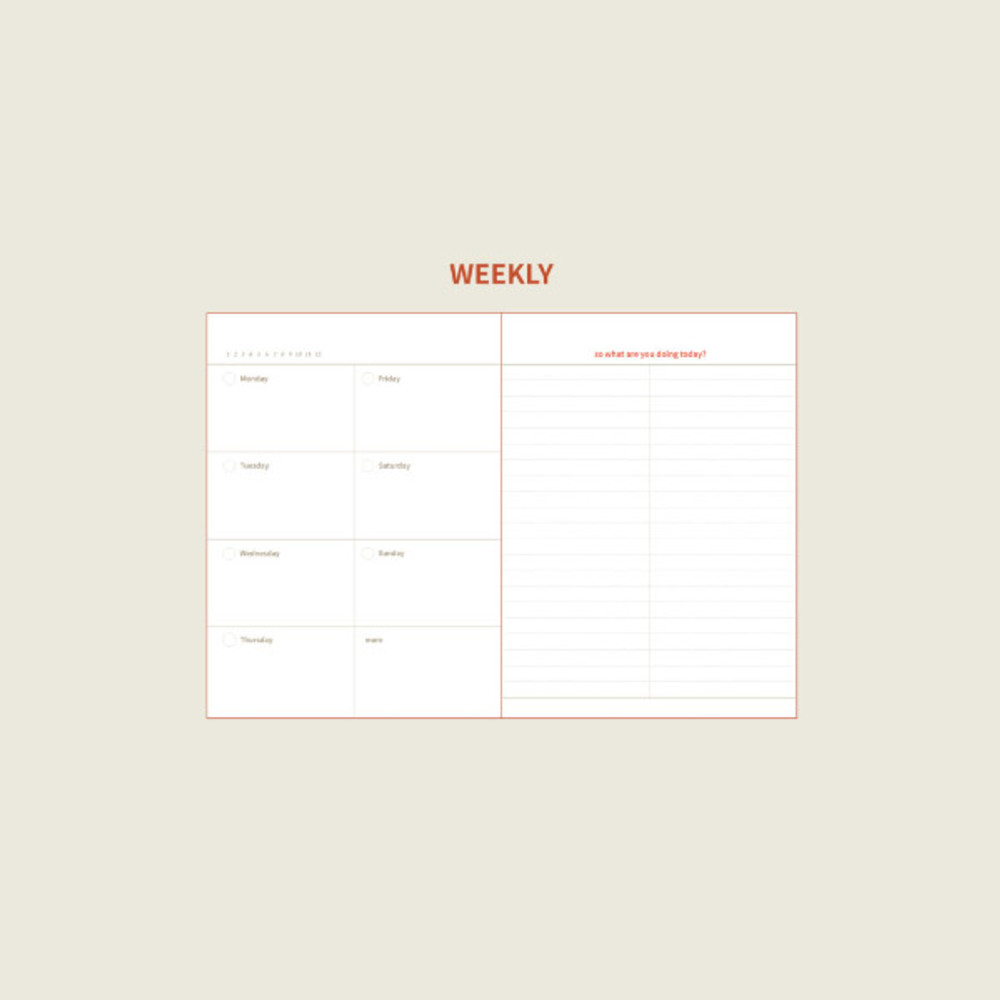 Weekly plan - DESIGN GOMGOM Seize the day dateless weekly planner