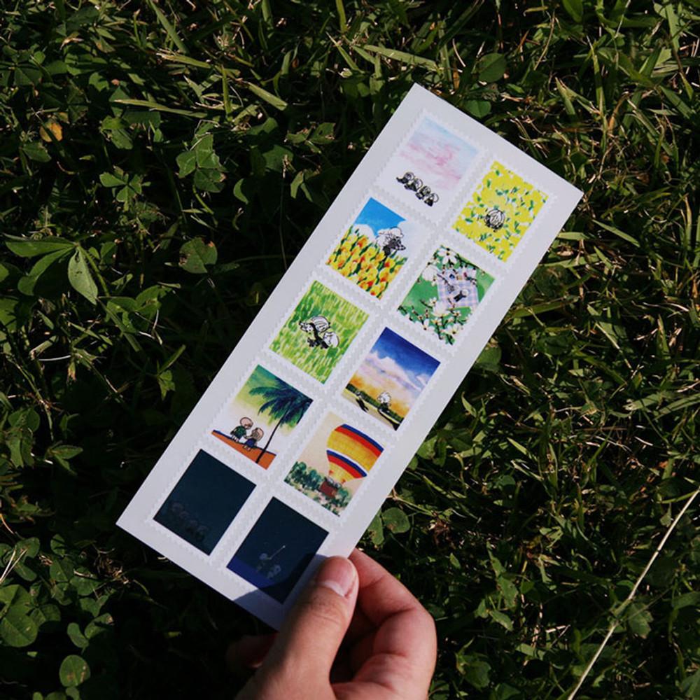 DESIGN GOMGOM Post stamp adhesive sticker sheet