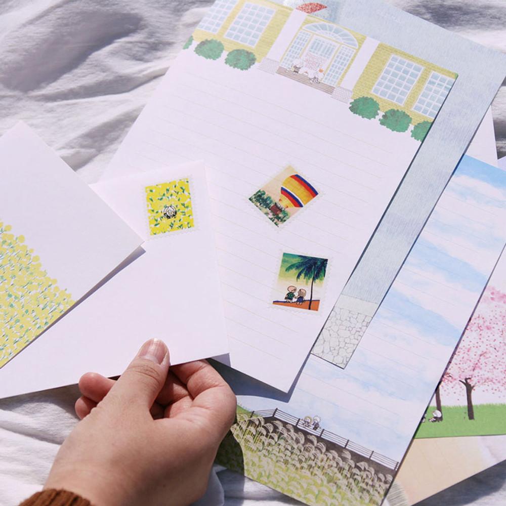 Usage example - DESIGN GOMGOM Post stamp adhesive sticker sheet