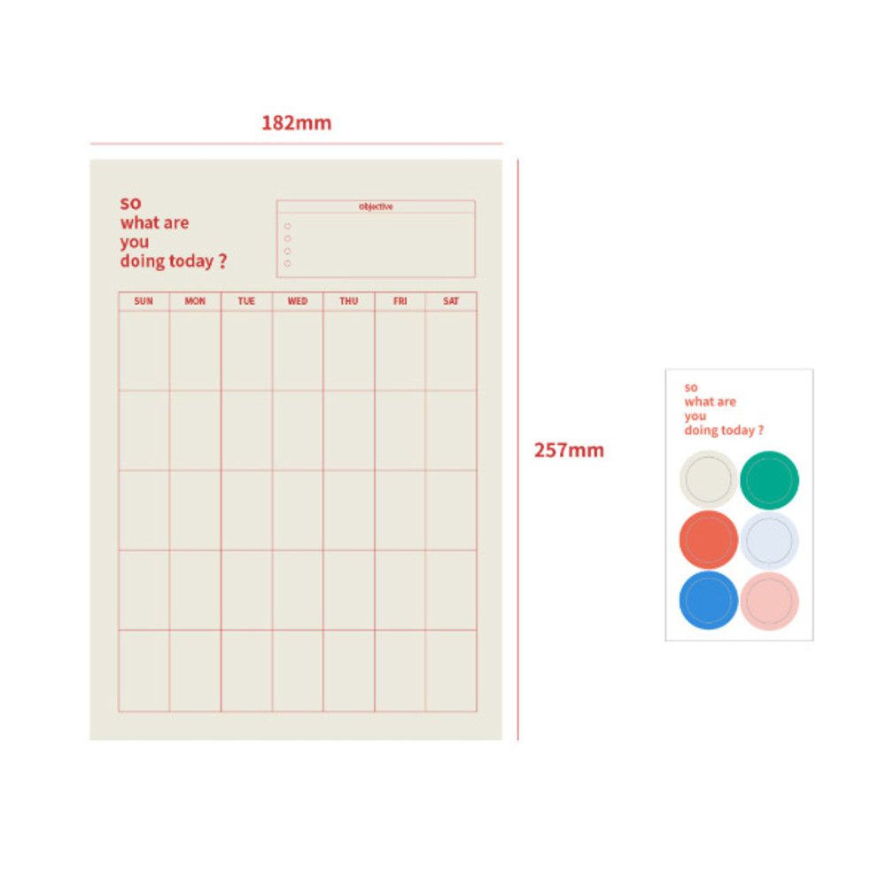 Composition - So what are you doing dateless monthly calendar planner
