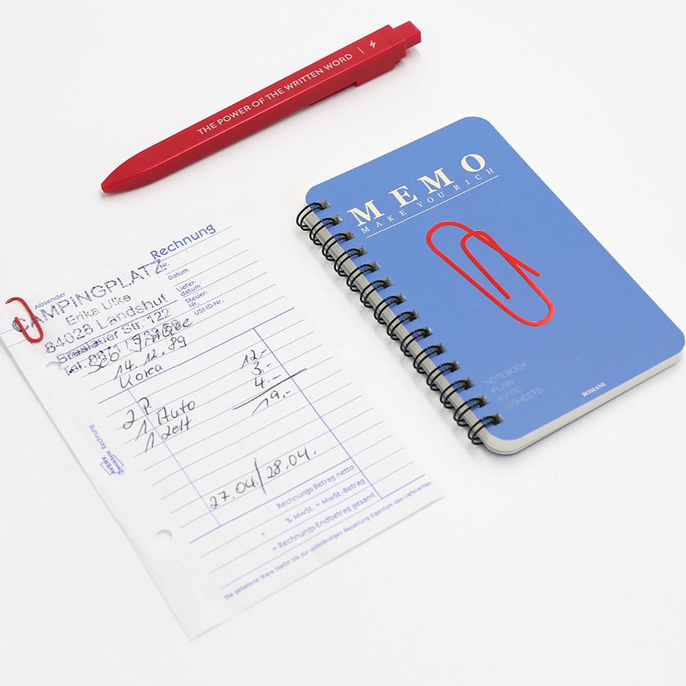 Blue - ROMANE Signature spiral bound mini blank notebook