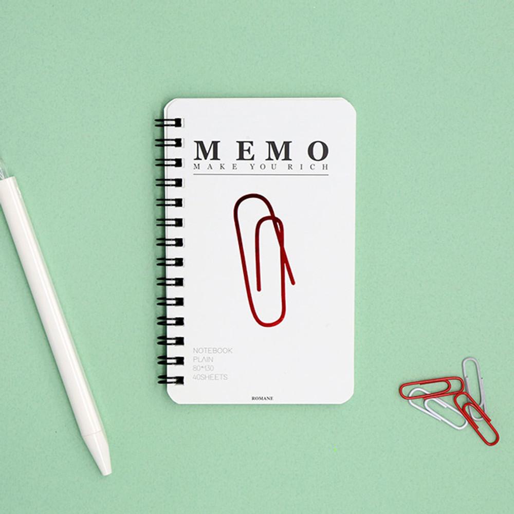 White - ROMANE Signature spiral bound mini blank notebook