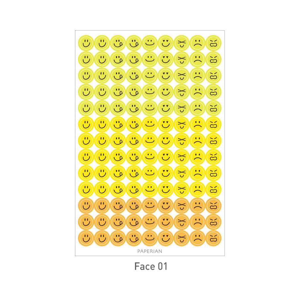 Face 01 - PAPERIAN Color palette face deco sticker set