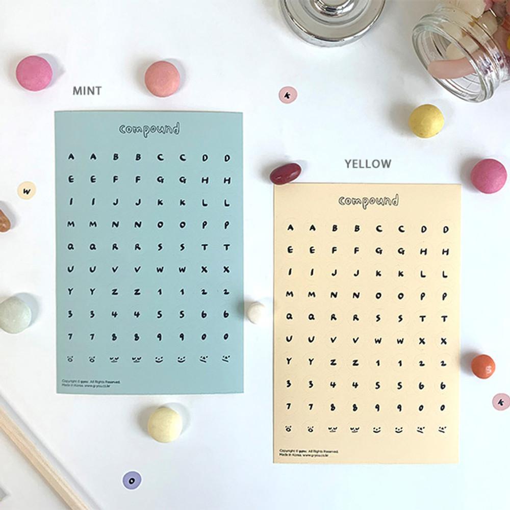 01 Blue Yellow set - gyou Compound Alphabet deco sticker set