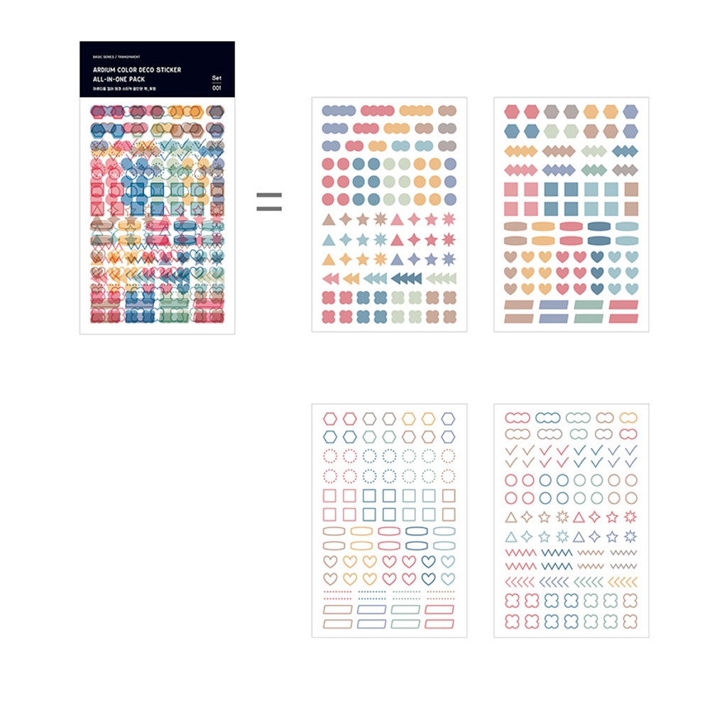 4 sheets - Ardium Color deco sticker all in one pack