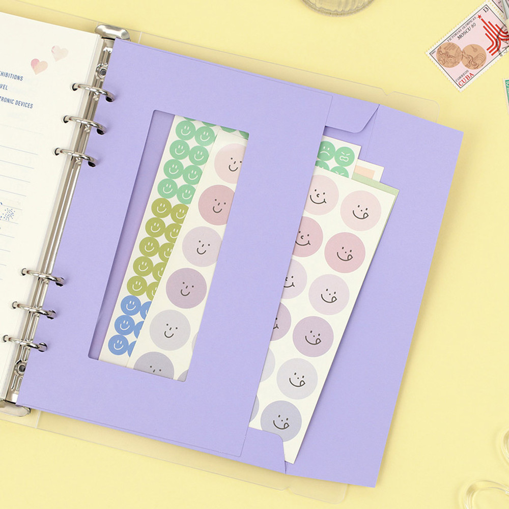 Lavender-  PAPERIAN Window paper envelope 6-ring A5 size refill ver2