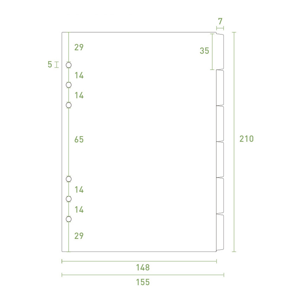 Size - PAPERIAN Index loose-leaf binder paper 6-ring A5 size refill