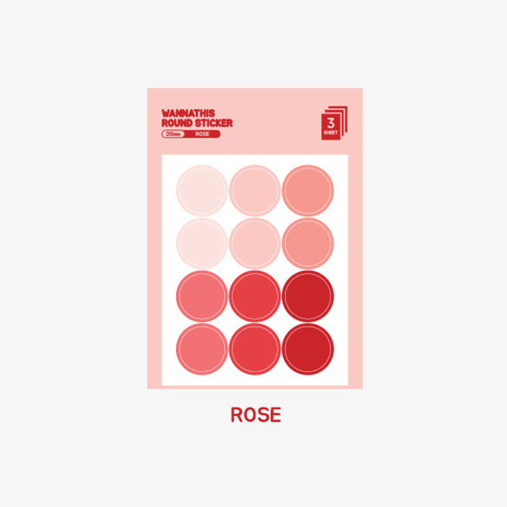 Rose - Wanna This Round 20 mm deco sticker set of 3 sheets