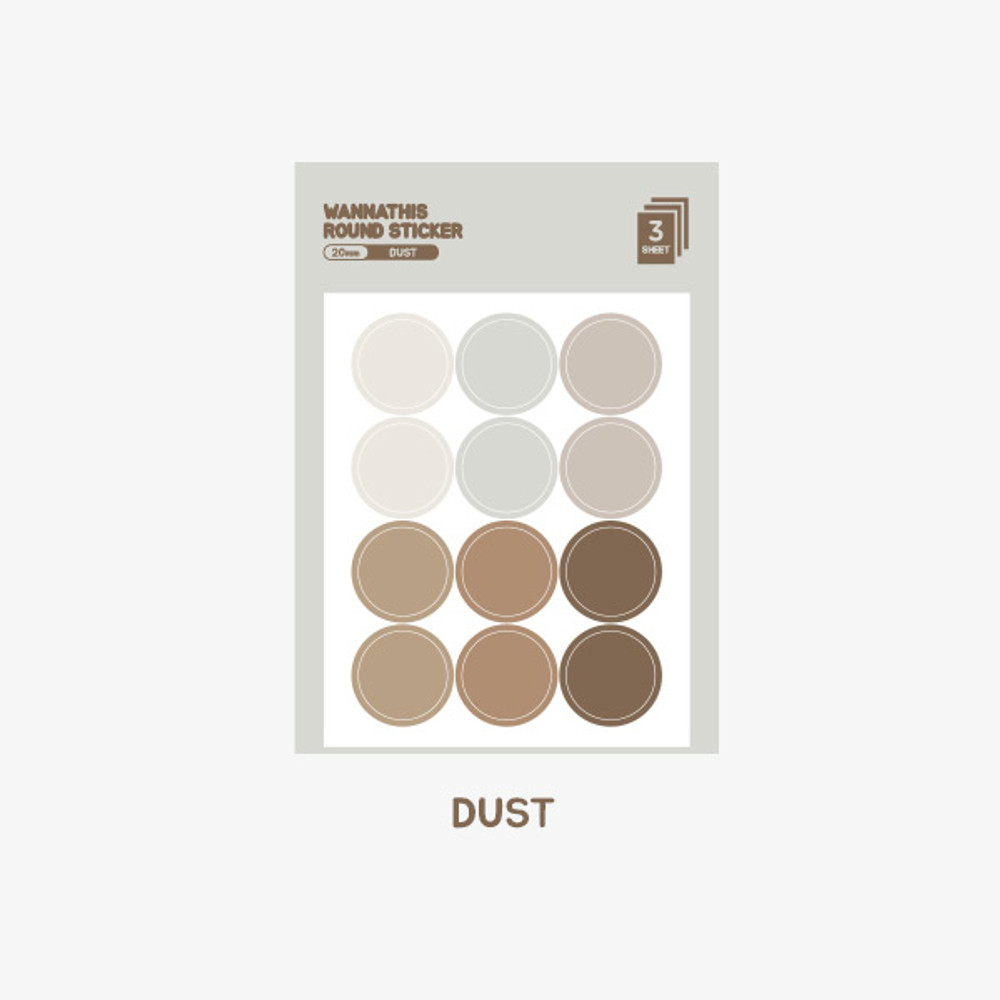 Dust - Wanna This Round 20 mm deco sticker set of 3 sheets