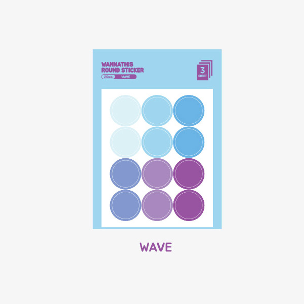 Wave - Wanna This Round 20 mm deco sticker set of 3 sheets