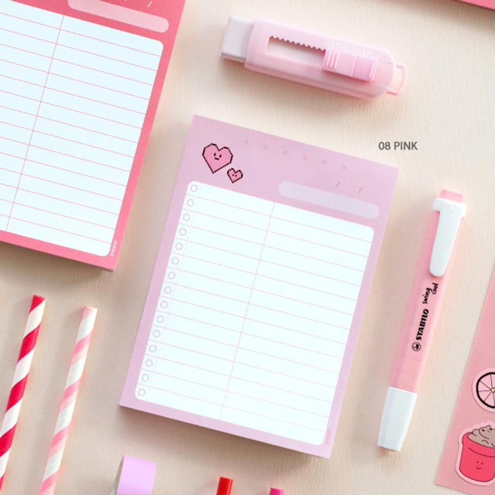 08 Pink - ICONIC Haru dateless daily vocabulary desk pad