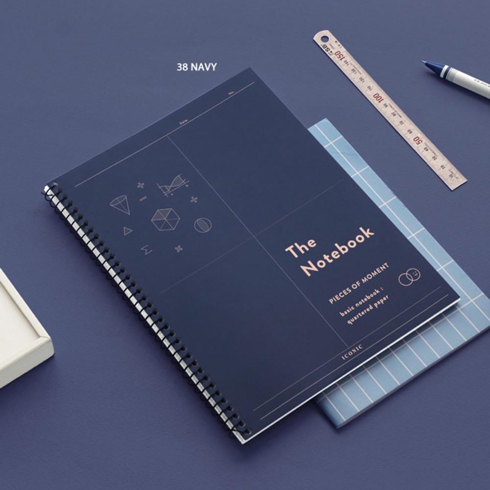 38 Navy - ICONIC Basic mathematics spiral bound grid notebook