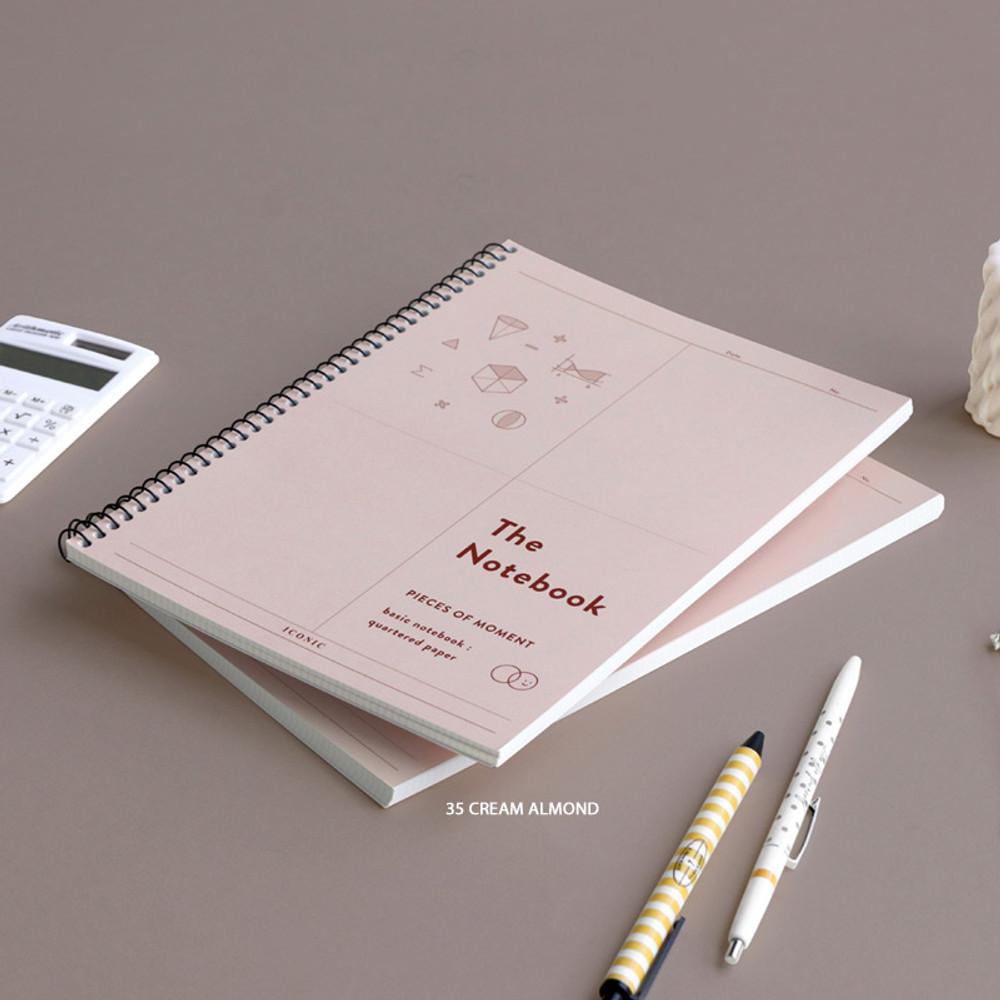 35 Cream Almond - ICONIC Basic mathematics spiral bound grid notebook