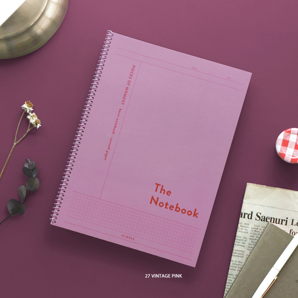 27 Vintage Pink - ICONIC Basic Cornell spiral bound lined and grid notebook