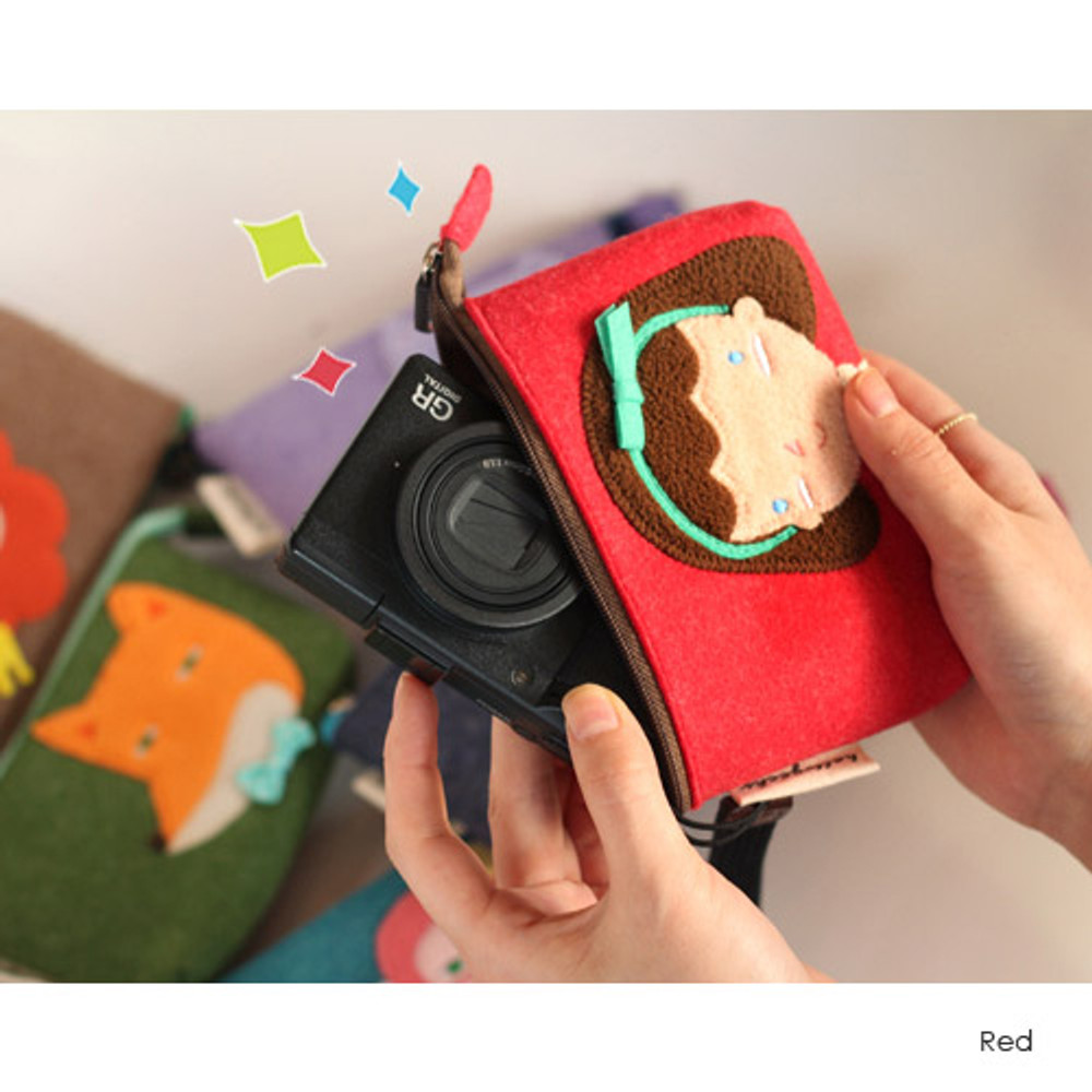 Red - Hellogeeks cute bosong bosong small pouch