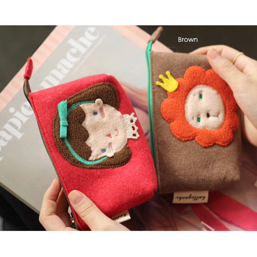 Brown - Hellogeeks cute bosong bosong small pouch