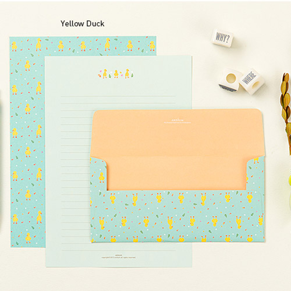 Yellow duck - Pastel pattern letter paper and envelope set