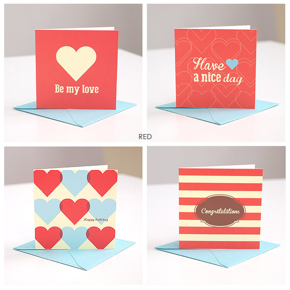 Red - Lovely pattern message card set