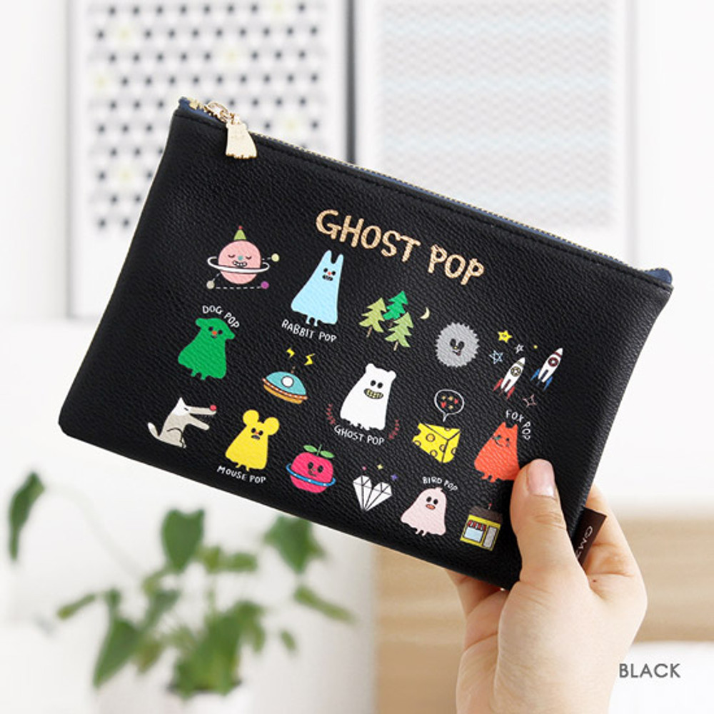 Black - Ghost pop cute illustration zipper pouch M
