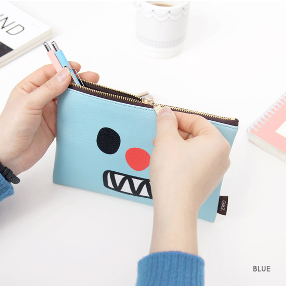 Blue - Ghost pop cute illustration zipper pouch M