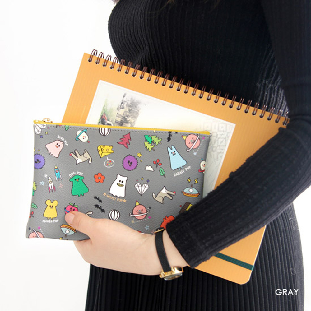 Gray - Ghost pop cute illustration zipper pouch M