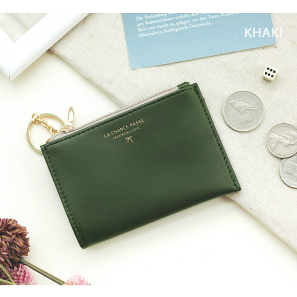 Khaki - Coin card zipper wallet holder with Key ring