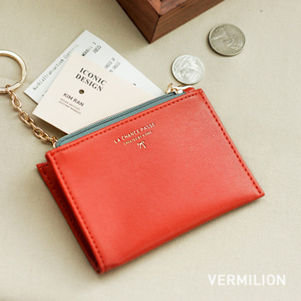 Vermilion - Coin card zipper wallet holder with Key ring