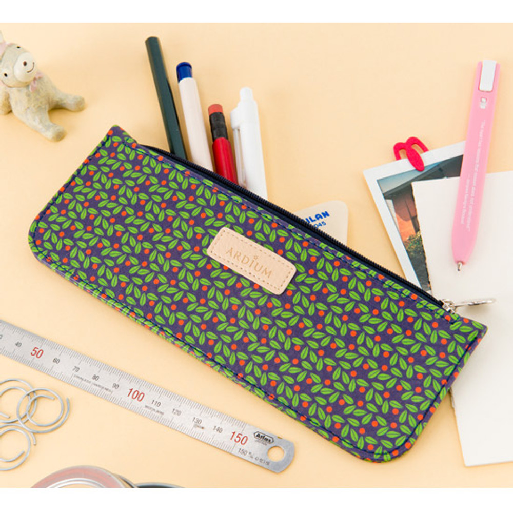 Flower pattern slim zipper pencil case