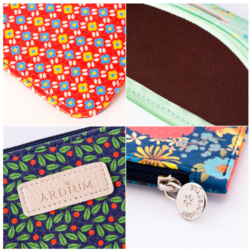 Detail view of Flower pattern slim zipper pencil case