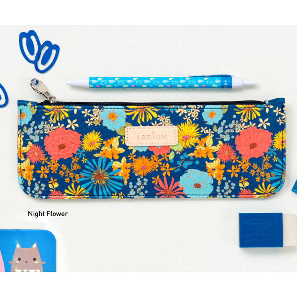 Night flower - Flower pattern slim zipper pencil case