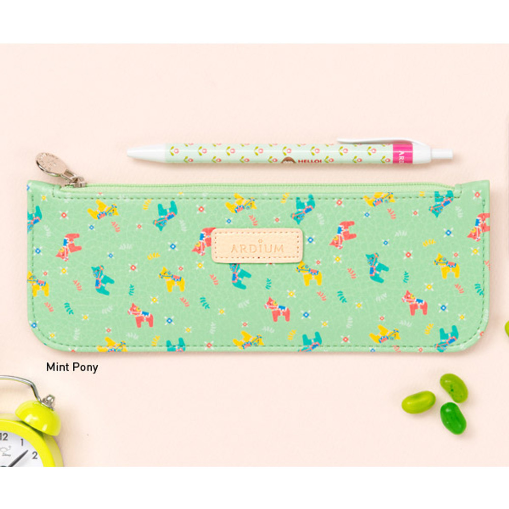 Mint pony - Flower pattern slim zipper pencil case