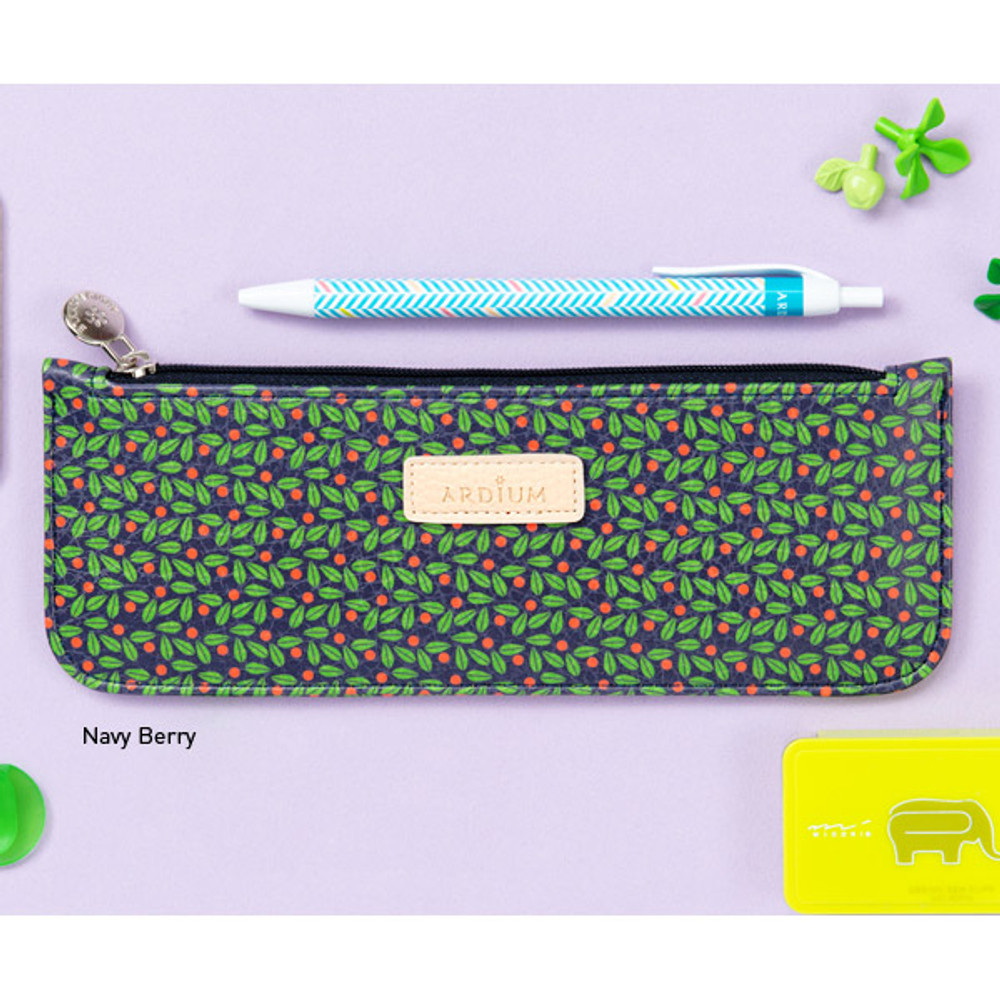 Navy berry - Flower pattern slim zipper pencil case