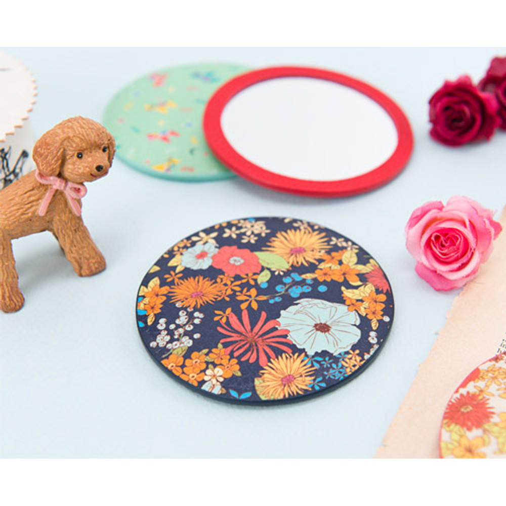 Flower pattern pocket round handy mirror