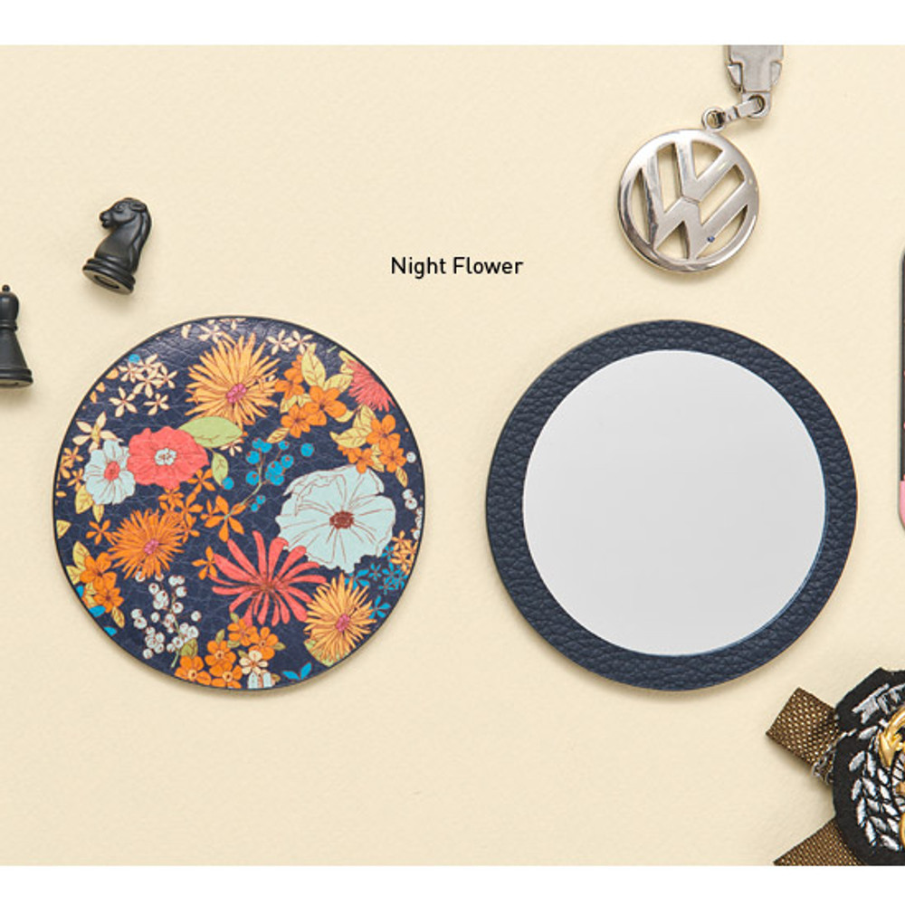 Night flower - Flower pattern pocket round handy mirror