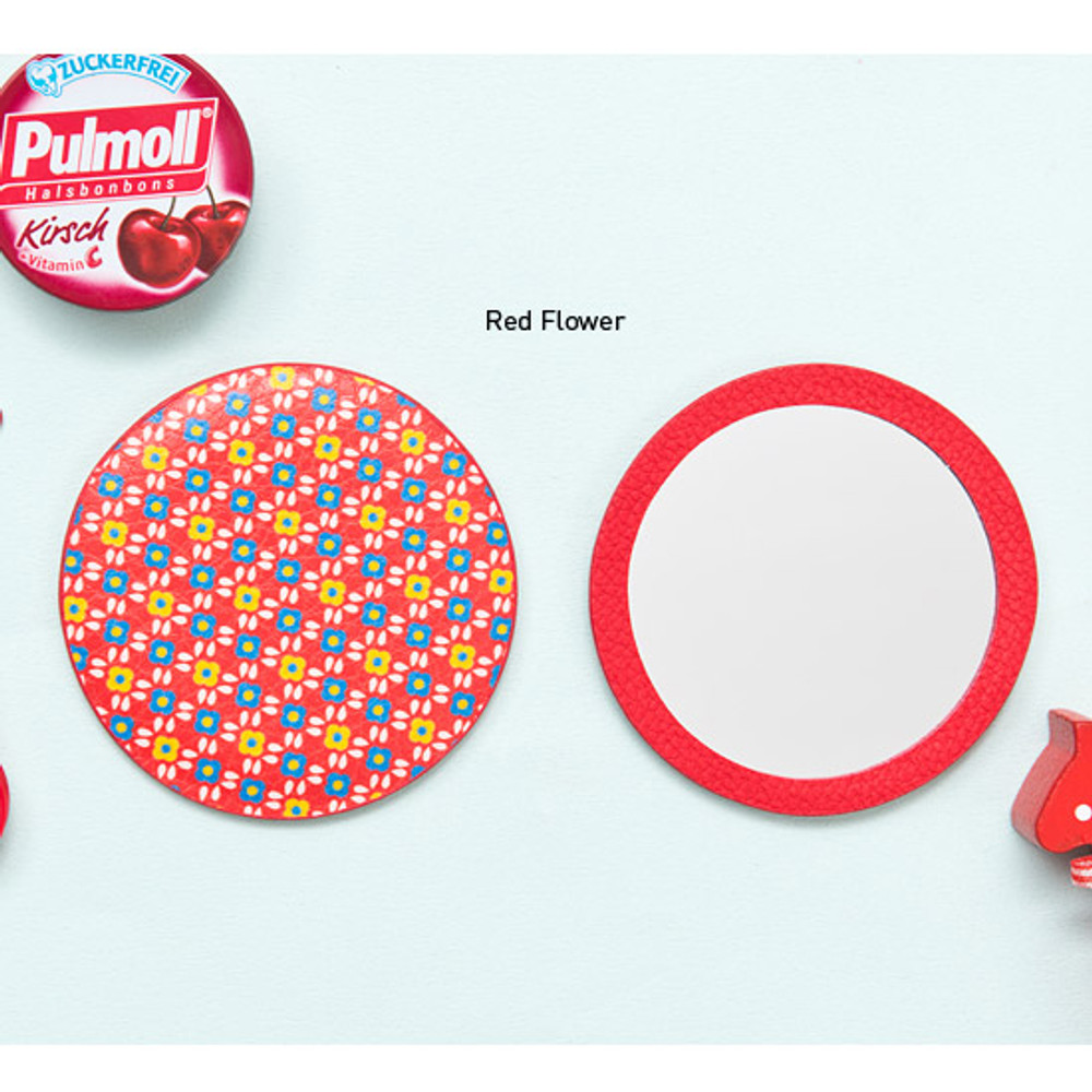 Red flower - Flower pattern pocket round handy mirror