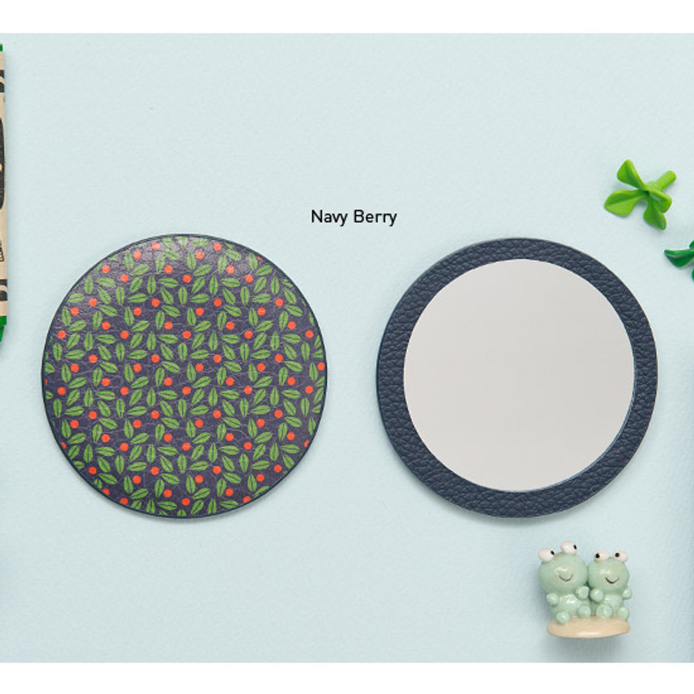 Navy berry - Flower pattern pocket round handy mirror