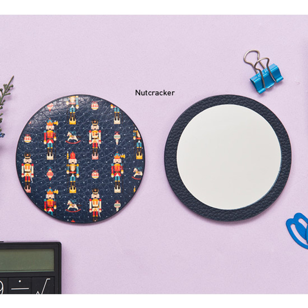 Nutcracker - Flower pattern pocket round handy mirror