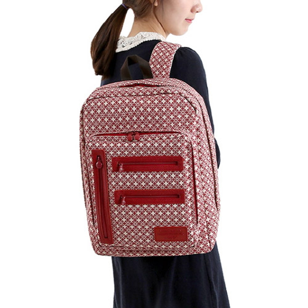 Circle star red - Monopoly Vintage pattern easy carry backpack