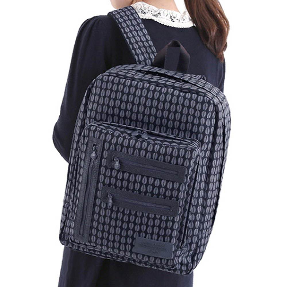 Leaf black - Monopoly Vintage pattern easy carry backpack