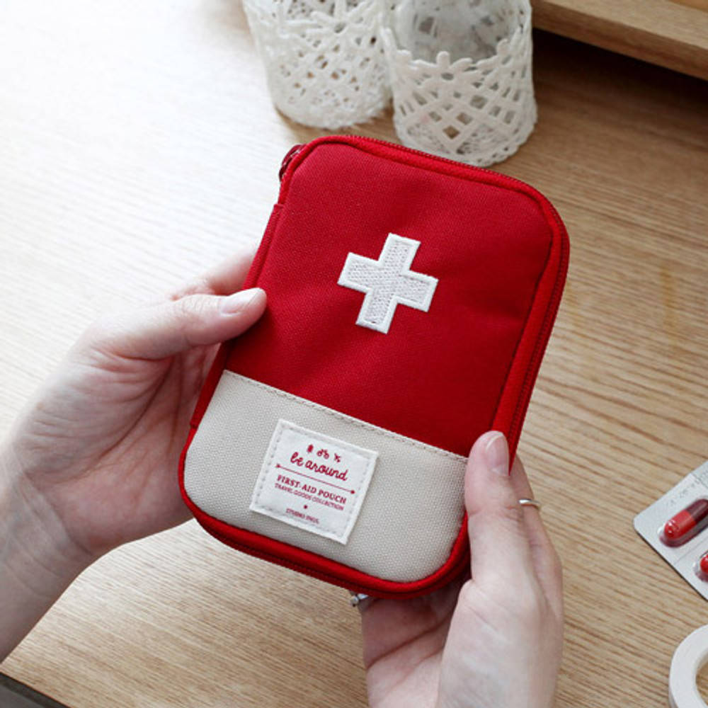 Red - Le around first aid zip around pouch